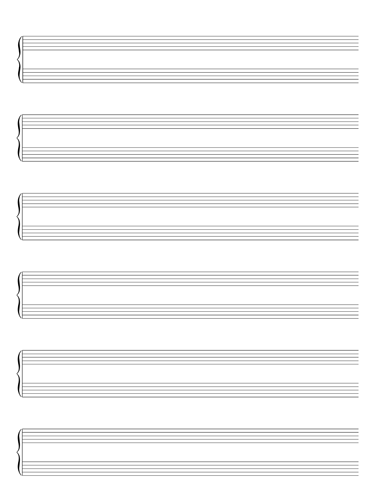 Bracketed Staff Without Clefs Notebook