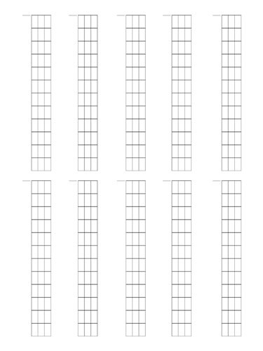 4 String Fretboard Tapping - Dual Page Layout Notebook