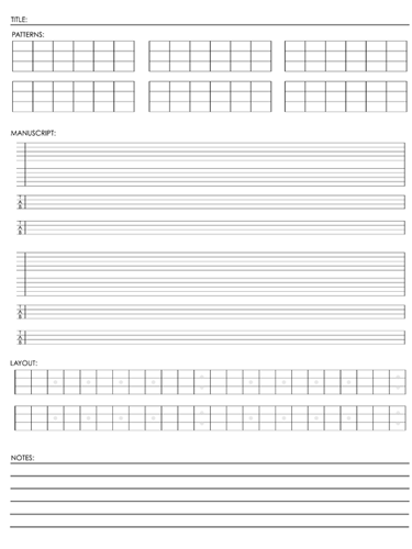 4 String Fretboard Tapping - Single Page Layout Notebook